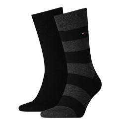 Pack 2 pares calcetines Combinados Tommy Hilfiger Hombre Negro/Gris Talla 39/42