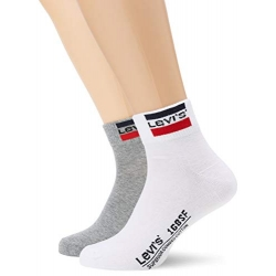 Levi's® Pack de 2 pares de Calcetines Cortos con Logo Blanco y Gris Talla 39/42