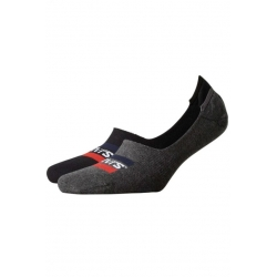 Levi's® Pack de 2 pares de Calcetines Invisibles Gris y Negro Talla 39/42