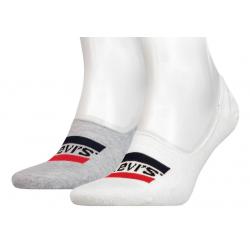 Levi's® Pack de 2 pares de Calcetines Invisibles Blanco y Gris Talla 43/46