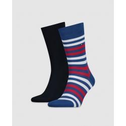 Pack 2 pares calcetines Tommy Hilfiger Hombre Combinados Liso y Rayas Talla 43/46