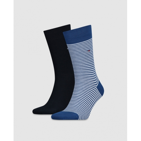 Pack 2 pares calcetines Tommy Hilfiger Hombre Combinados Liso y Rayas Finas Talla 43/46