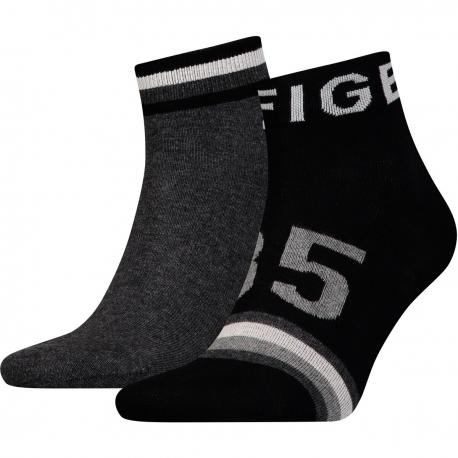 Pack 2 pares calcetines Cortos Tommy Hilfiger Hombre Negro y Gris Talla 39/42