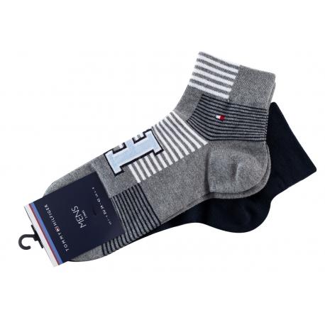 Pack 2 pares calcetines Cortos Tommy Hilfiger Hombre Azul Marino y Gris Talla 39/42