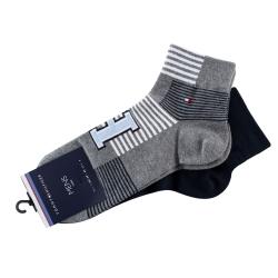 Pack 2 pares calcetines Cortos Tommy Hilfiger Hombre Azul Marino y Gris Talla 43/46
