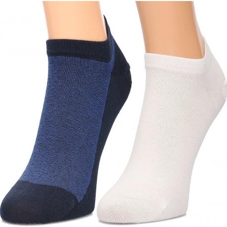 Pack 2 pares calcetines Tobilleros Tommy Hilfiger Hombre Azul Marino y Blanco Talla 39/42