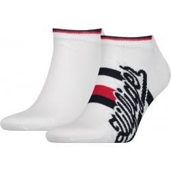 Pack 2 pares calcetines Tobilleros Tommy Hilfiger Hombre Blancos Fantasía Talla 39/42