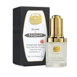 KEDMA Elixir Hidratante de Noche con Ácido Hialurónico, Minerales del Mar Muerto y Vitamina C 30 g